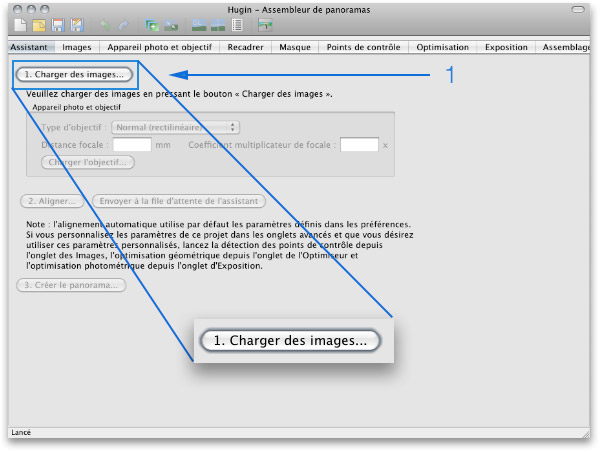 Hugin : charger les images