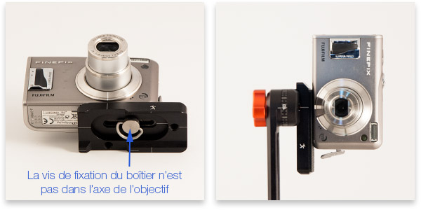 Fixation d'un appareil photo compact sur la platine Xtenion Bushman Panoramic